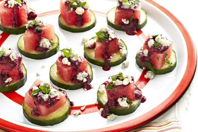Watermelon Appetizers with Blueberry Dressing and blue cheese