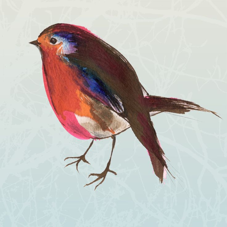 A friendly little robin fluttering and tweeting around. This  print comes from an ink drawing and is combined with a digitally created  background of subtle gold and blue tree branches.
