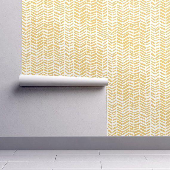 Herringbone Wallpaper Impression White Mustard By Leanne Etsy In 2020 Herringbone Wallpaper Self Adhesive Wallpaper Adhesive Wallpaper