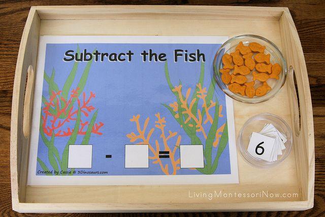 """""""Subtract the Fish"""" ActivityOcean Activities Kindergarten, Hands On Math, Kindergarten Math, Ocean Math, Fun Math Activities For Kids, Math Ideas, Ocean Activities For Kids, Fish Trays, First Grade"""