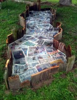Fun Garden bed with newspapers to control the weeds