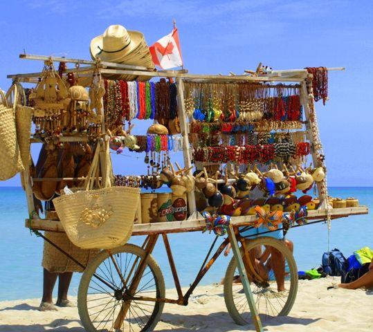 Beach market cart Cuba
