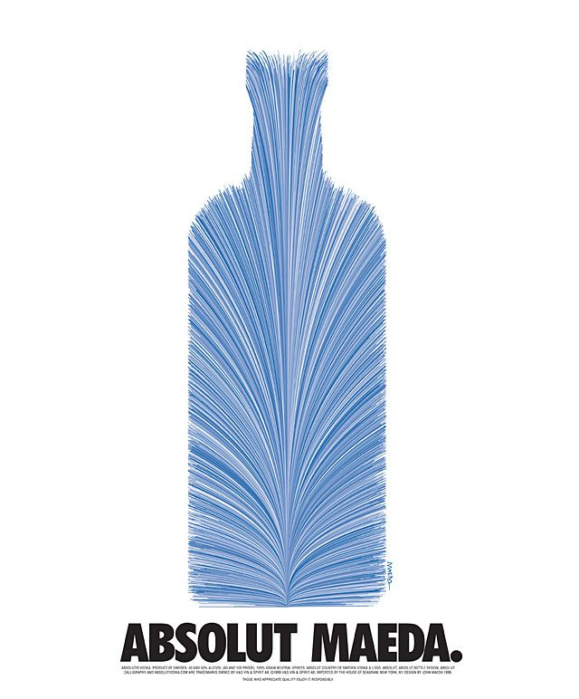 Absolut Maeda. Ad for Absolut Vodka featured in I.D. Magazine, 1997