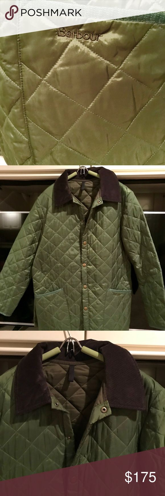 Men's Barbour quilted coat Olive green quilted jacket with a brown corduroy collar. Worn twice! Excellent condition and awesome price! Now low balling please! Barbour Jackets & Coats