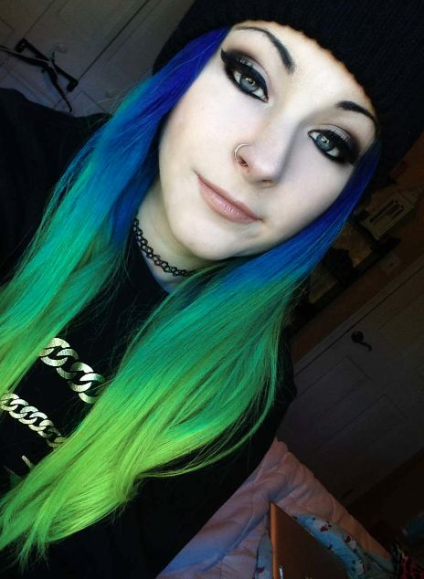 Blue And Green Dining Room: #blue #green #dyed #hair #scene #pretty #alternative