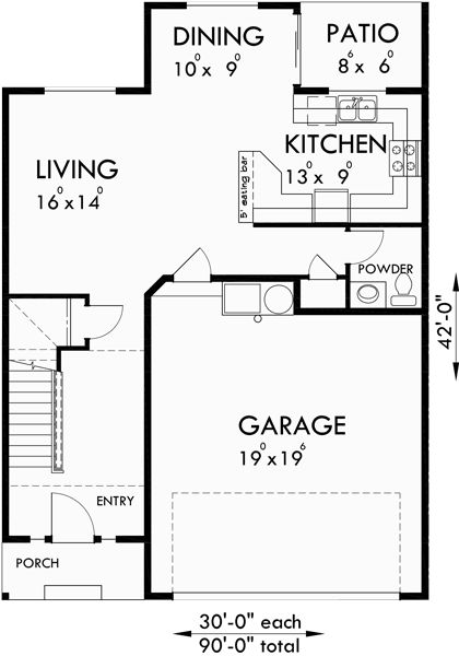 22 best 3 BR Townhouse plan images on Pinterest Terraced