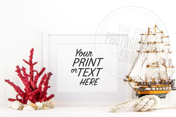 Styled Stock Photography / Beach, Seashells, Ocean, Red, Coral, Rope, Sail Boat, Sea Ship, Nautical / Blank Frame / Empty Frame / BN008