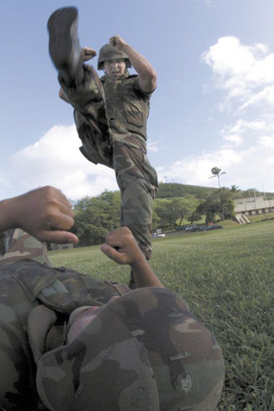 stomp military combat training instructions kick fight beat up