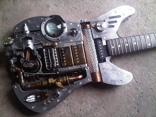 Unique, well designed steampunk guitar