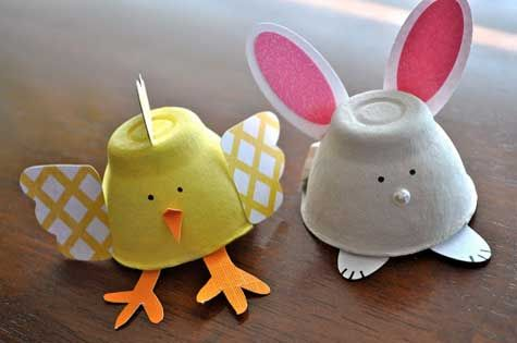 Easter activities: Egg crafts: Great recycling activity. (Egg cartons)