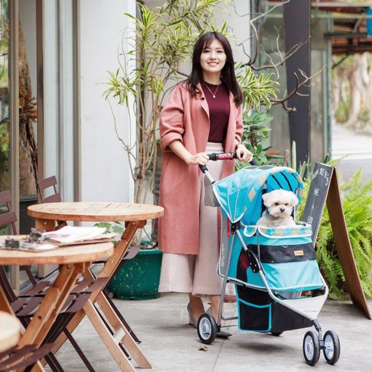 Matte Edition Diagonal Stripes Pet Stroller by Ibiyaya