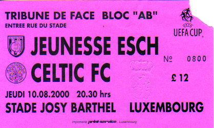 Jeunesse Esch, UEFA Cup, 2000.