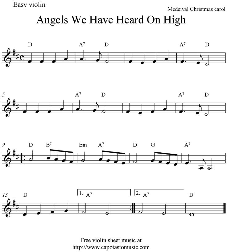 Free Sheet Music Scores: Angels We Have Heard On High, free Christmas violin sheet music notes