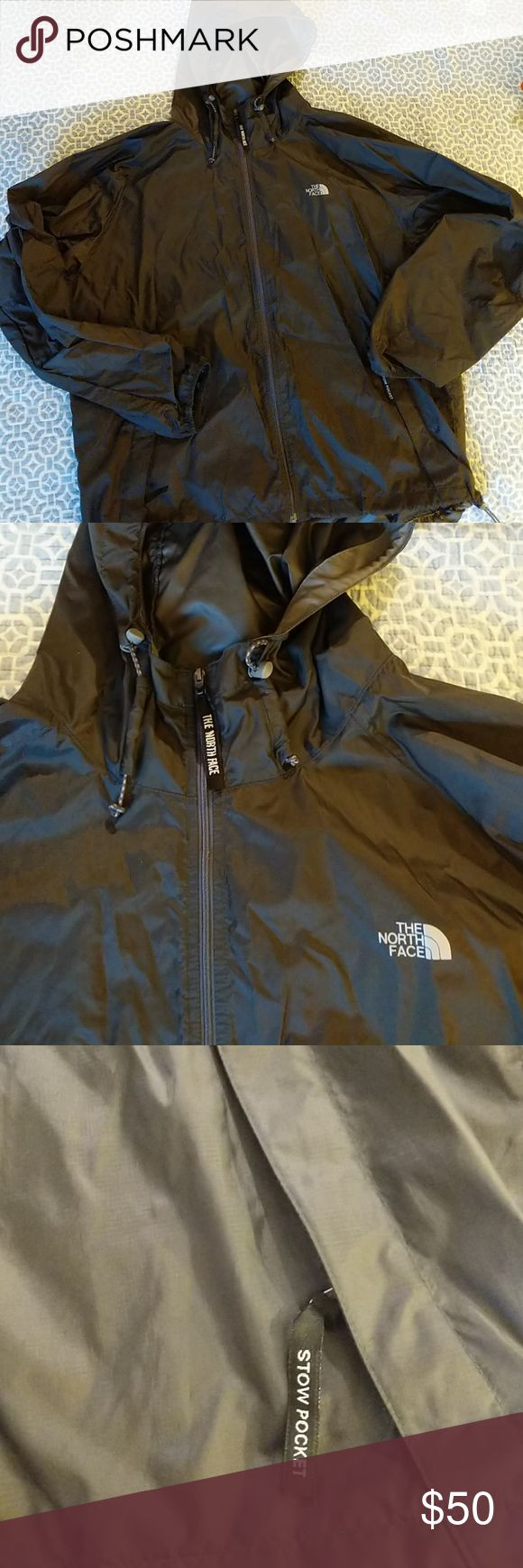 Mens lightweight packable rain jacket - North Face This extra lightweight rain jacket from North Face is in like new condition it can pack into its own Stow pocket includes Bungie at the hood and at the hem, elastic at the wrists, and a slight bill to the hood. Feel free to make a bundle or an offer! The North Face Jackets & Coats Raincoats