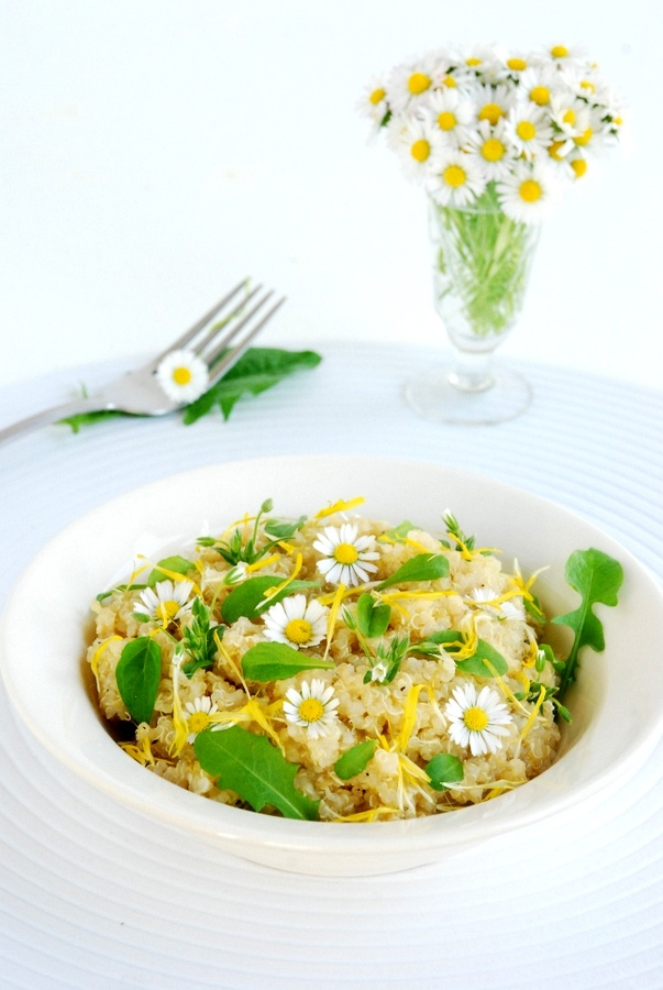 Healthy spring quinoa with flowers and weed: dandelion, daisies, plantain and chickweed.