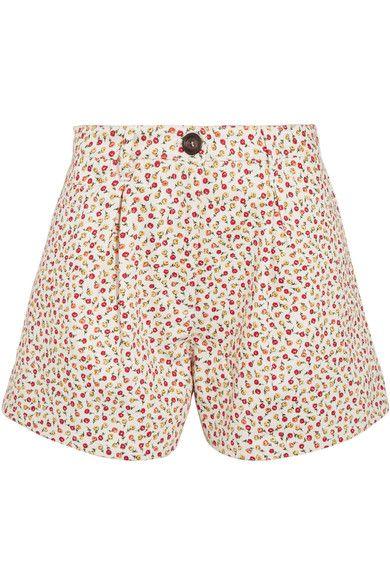 MIU MIU Pleated Floral-Print Denim Shorts. #miumiu #cloth #shorts