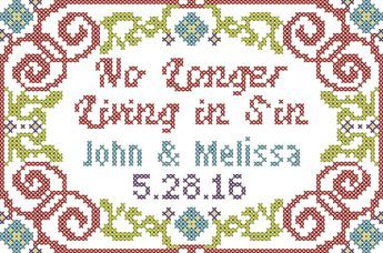 """Wedding Cross Stitch Pattern Modern No Longer Living in Sin for 4"""" x 6"""" by oneofakindbabydesign on Etsy"""