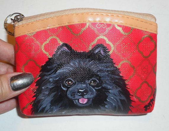 Black Pomeranian Dog Hand Painted Leather by daniellesoriginals