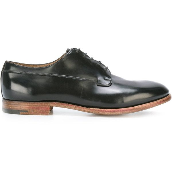 Premiata Book Brass derbies (5.270 ARS) ❤ liked on Polyvore featuring men's fashion, men's shoes, men's oxfords, black, men's blucher shoes, mens black shoes, mens derby shoes and mens black derby shoes