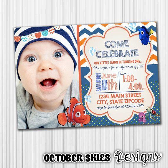 Finding Nemo Birthday Invitation Happy by OctoberSkiesDesigns