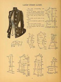 Ladies' Street Jacket 1888 pattern Je ne pense pas avoir le niveau en couture, mais à garder quand-même sous la main...