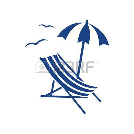 parasol plage: Plage parasol et chaise longue Illustration