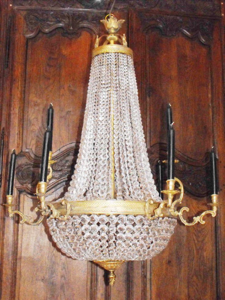 Awesome antiker Kronleuchter Sac a perl antic chandelier Kk in Antiquit ten u Kunst Mobiliar u