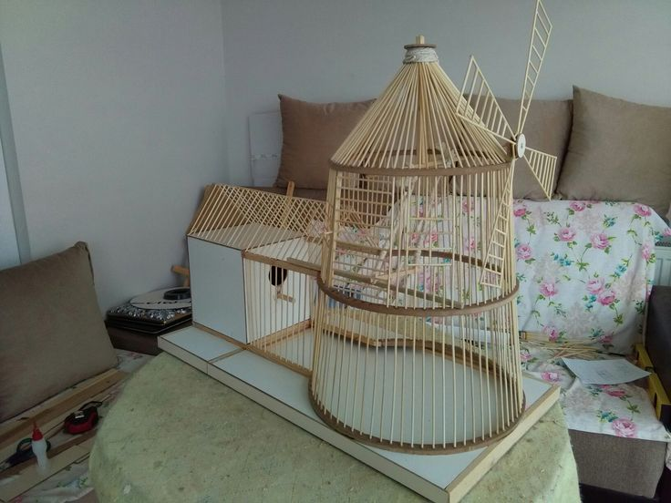 Windmill bird cage wood