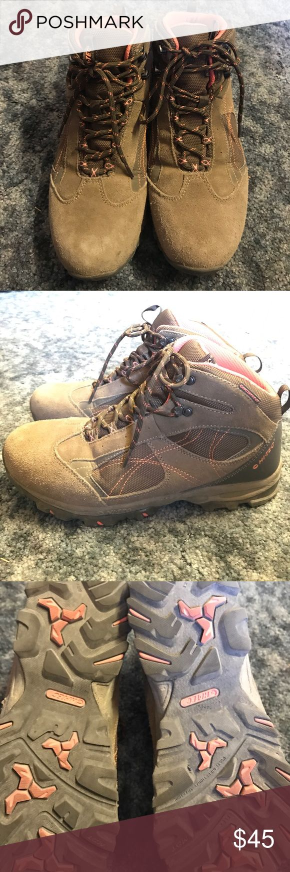 Hi-Tec Hiking Boots Hi-Tec hiking boots. Brown with orange accents. Slight wear on toes as seen in photo. Minimal wear, good amount of tread left on bottom. Only worn a few times. Comfortable fit, great boot. Men's Size 9.5 Hi-Tec Shoes Boots