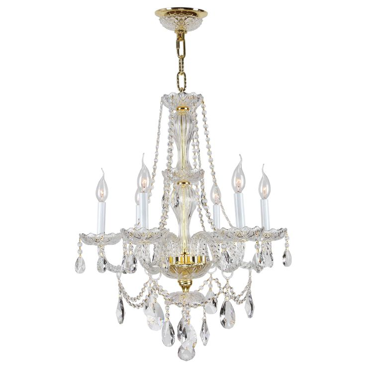 Venetian Italian Style 6 Light Gold Finish And Clear Crystal Chandelier Medium 23 X 31 Lights