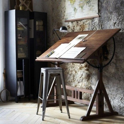 Vintage Drafting Table And Tolix High Stool.