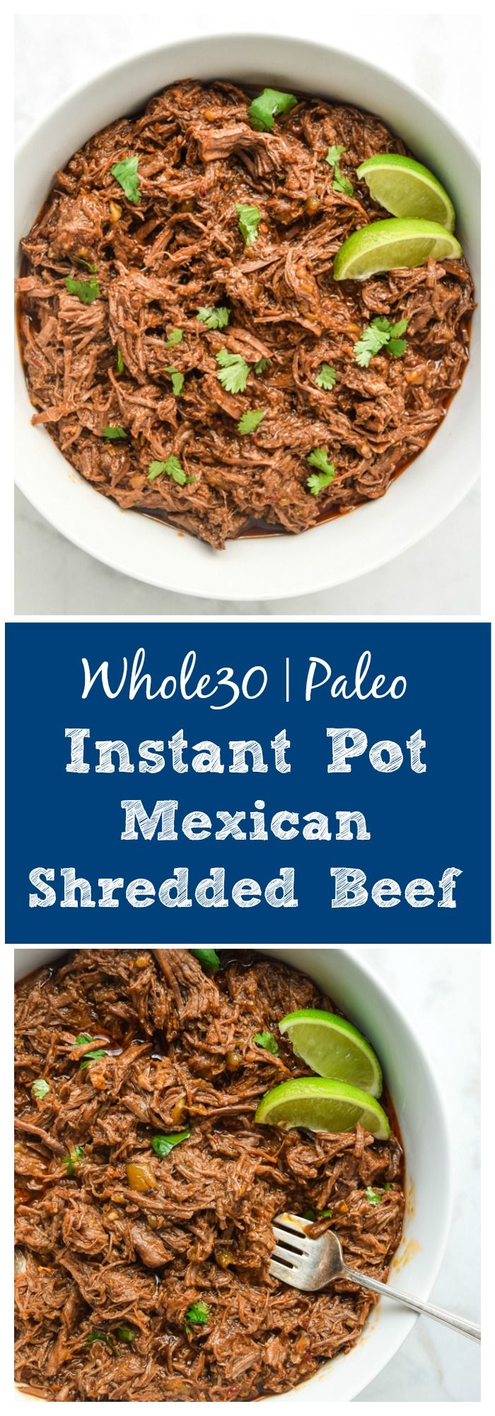 Instant Pot Shredded Mexican Beef (Whole30 Paleo) - this recipe is huge on flavor and super family friendly!  Add to tacos, salads, burrito bowls, and more.  Freezes great too! | tastythin.com