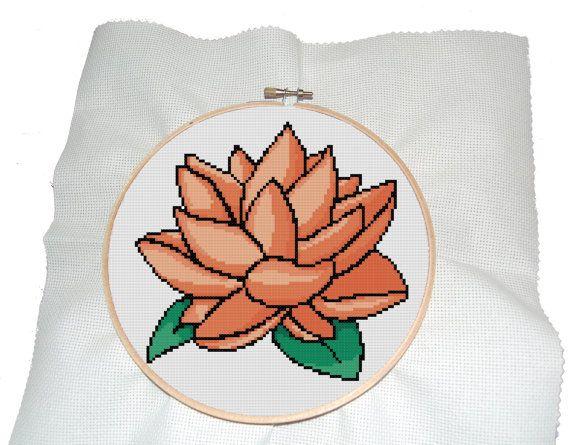 Modern cross stitch pattern of orange lotus by MUMMYSTITCHES