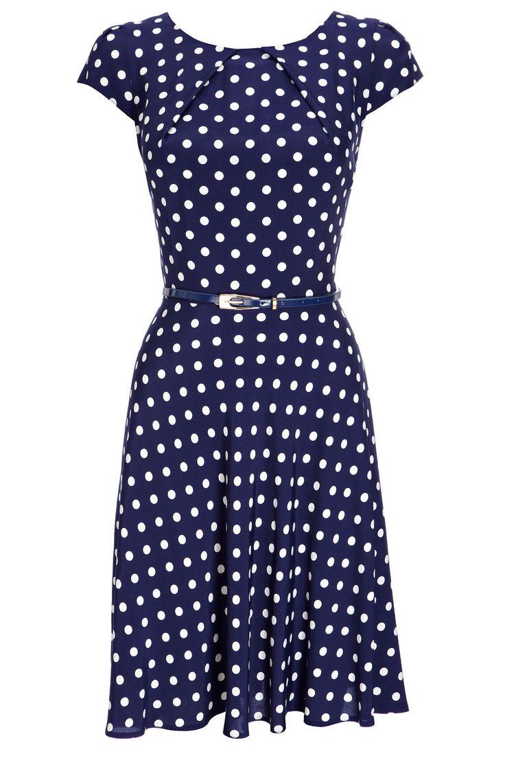 Navy Spot Dress || Wallis