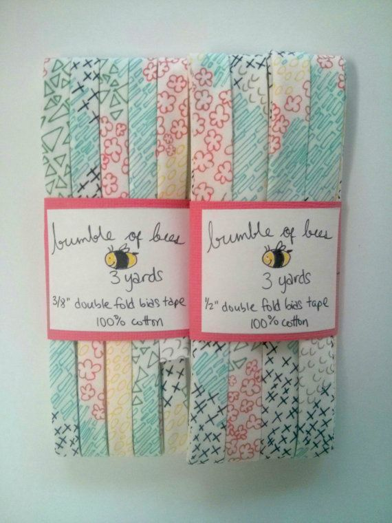 """Multicoloured Doodles on White Happy Home Double Fold Bias Tape - 3 yards, CHOOSE 3/8"""" or 1/2"""" wide"""