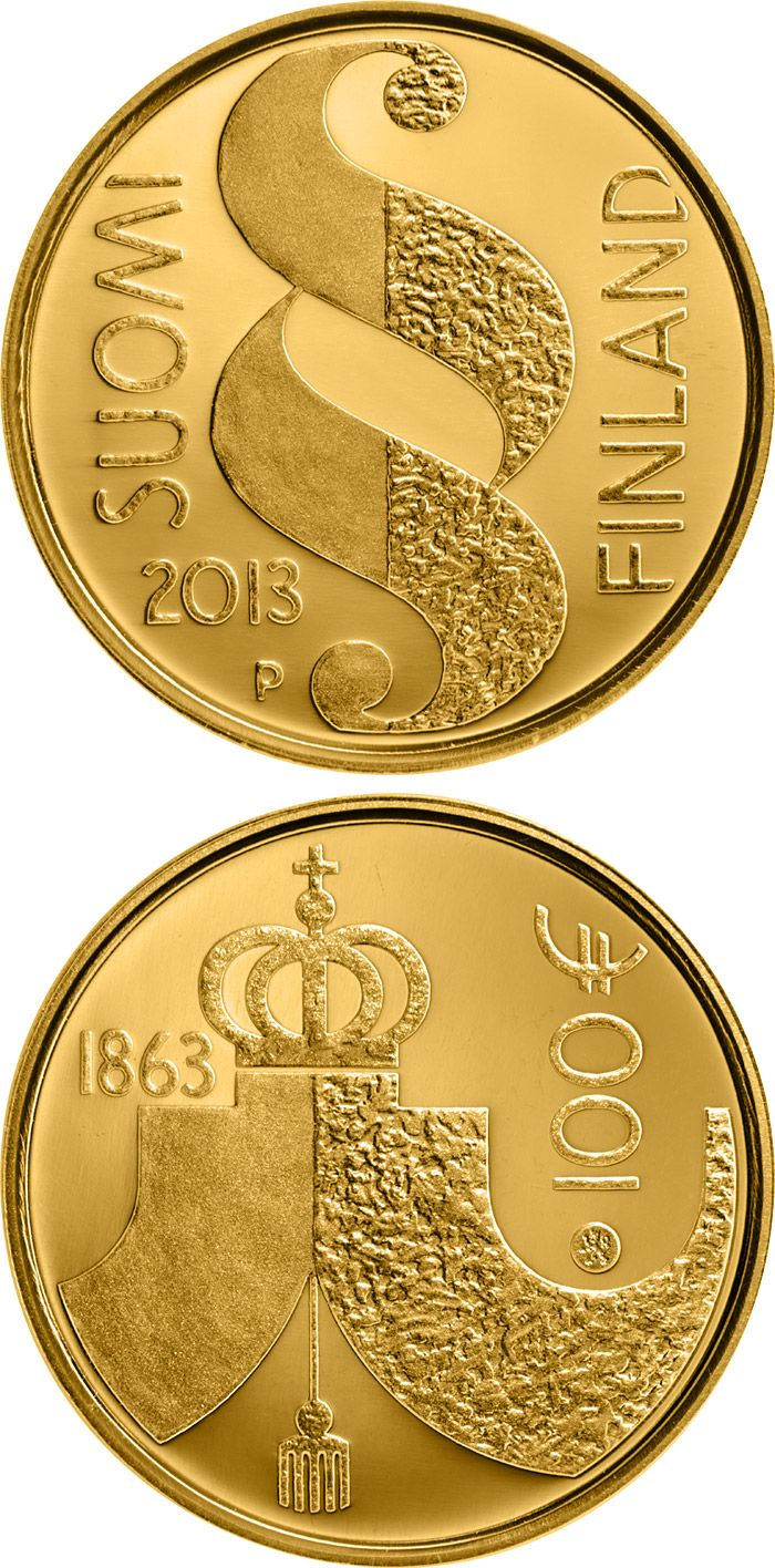 100 euro: The Diet of 1863.Country: Finland Mintage year: 2013 Issue date: 17.09.2013 Face value: 100 euro Diameter: 22.00 mm Weight: 5.65 g Alloy: Gold Quality: Proof Mintage: 6,000 pc proof Design: Reijo Paavilainen