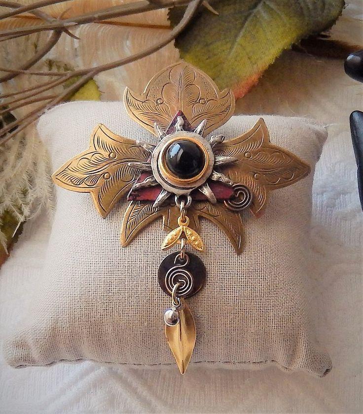 Vintage Artisan Crafted Unique Brass Copper Silver Garnet Gemstone Brooch Pin