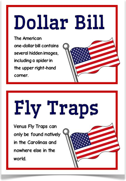 USA Fact Cards - Treetop Displays - A set of 20 A5 fact cards that give key, fun and interesting facts about USA. Each fact card has a key word heading, making this set an excellent topic-based word wall/ word bank as well for those classes learning about the United States of America! Visit our website for more information and for other printable classroom resources by clicking on the provided links. Designed by teachers for Early Years (EYFS), Key Stage 1 (KS1) and Key Stage 2 (KS2).
