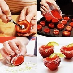 Frutillas rellenas a gusto, en este caso con gelatina.
