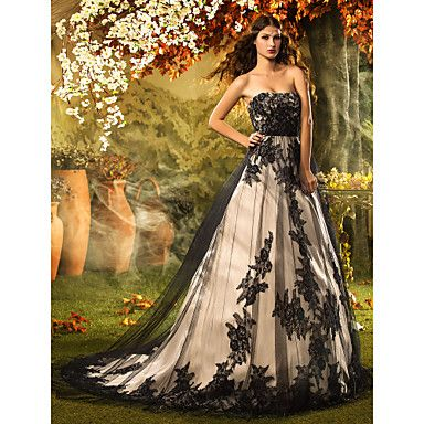 Lanting+Bride®+A-line+/+Princess+Petite+Wedding+Dress+Spring+2014+/+Wedding+Dresses+in+Color+Court+Train+Strapless+Lace+/+Tulle+with+–+USD+$+299.99