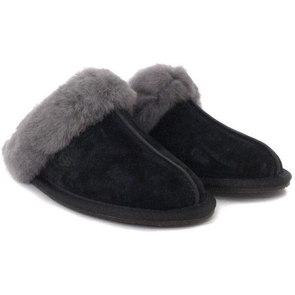 Ugg Scuffette 11 Black Grey Slippers ($51) ❤ liked on Polyvore featuring shoes, slippers, boots, flats, pajama's and women