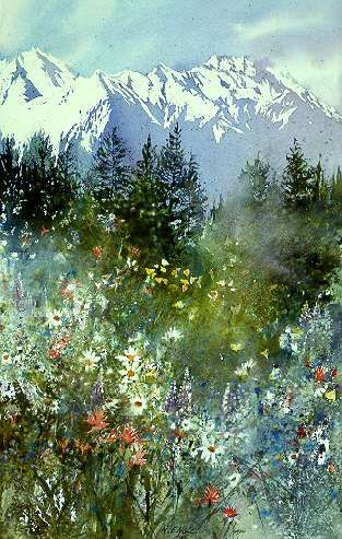 Mountain Meadow by watercolor artist Nita Engle available from Snow Goose Gallery
