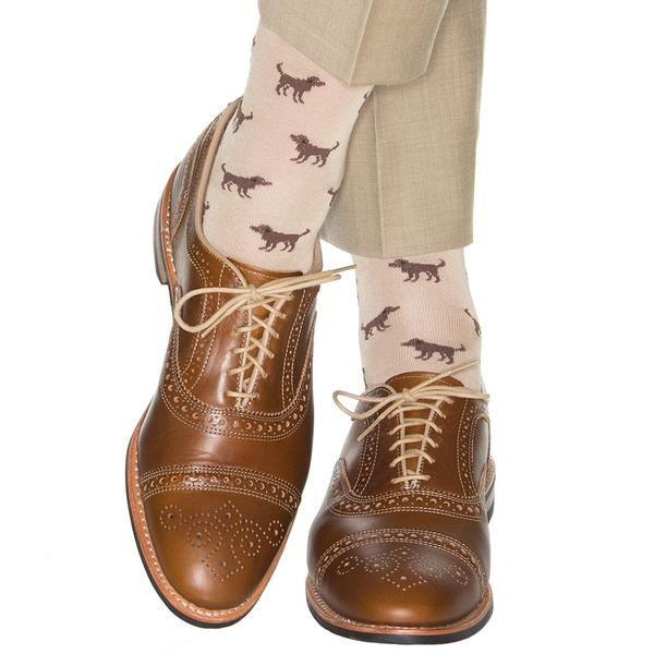 Dapper Classics Tan with Brown Dog Sock Linked Toe