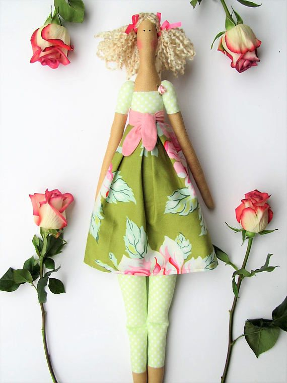 Fabric doll handmade rag doll pink green floral cloth doll art