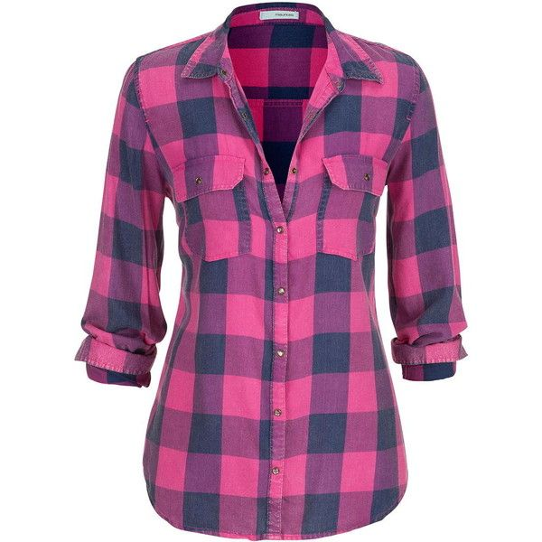 maurices Plaid Button Down Shirt In Hot Pink ($29) ❤ liked on Polyvore featuring tops, shirts, camisas, royal pink, button-down shirts, plaid shirt, pink shirt, plus size plaid shirt and long plaid shirt
