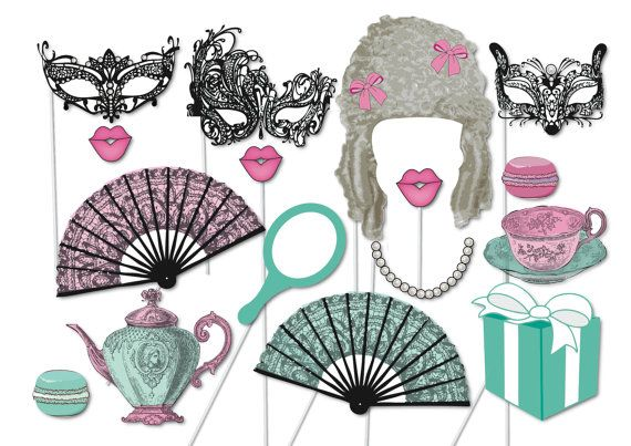 Tea Party Photobooth Props Set decorations- 16 Piece PRINTABLE - Marie Antoinette, french, engagement, vintage masquerade Photo Booth