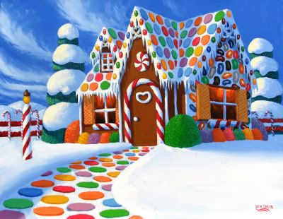 Christmas Gingerbread House Painting at ArtistRising.com  This is just an idea for the colorful sidewalk.