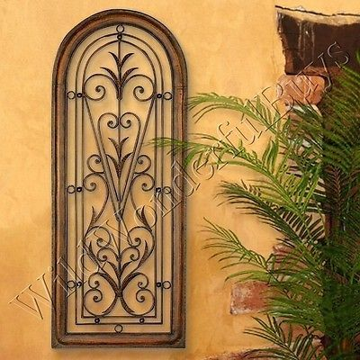 Mediterranean-Wall-Panel-Grille-Italian-Tuscan-Window-Arch-Garden-Gate-Iron-New