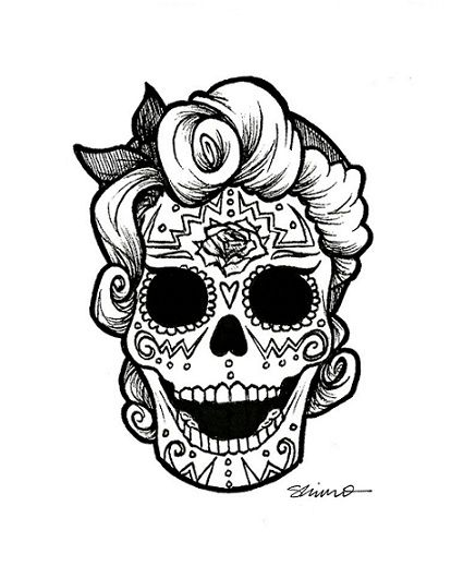 rockabilly day of the dead day of the dead draw illustration rockabilly skull inspiring. Black Bedroom Furniture Sets. Home Design Ideas
