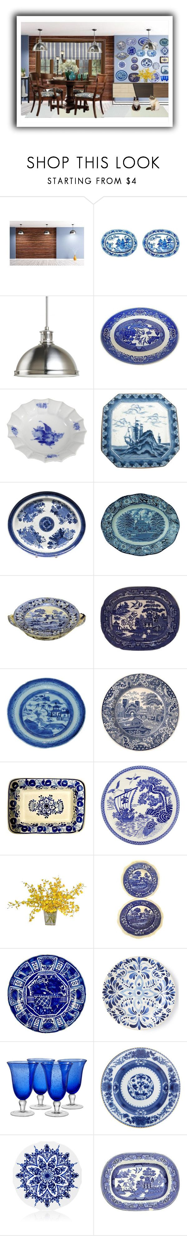 """""""Vintage transfer ware"""" by colonae ❤ liked on Polyvore featuring interior, interiors, interior design, home, home decor, interior decorating, Sea Gull Lighting, Royal Copenhagen, Spode and The French Bee"""